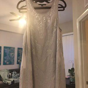 Silver matte sequin dress